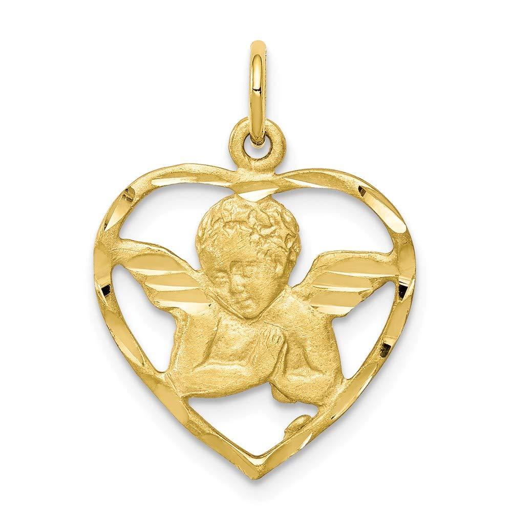 25mm x 21mm Mia Diamonds 10k Yellow Gold Angel Heart Charm