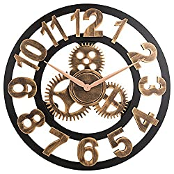 OLDTOWN Clock 3D Retro Rustic Vintage Wooden 23-Inch Noiseless Gear Wall Clock, Number-Anti-Bronze