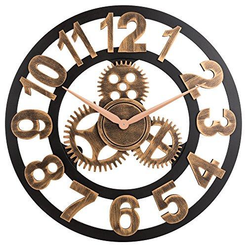 OLDTOWN Clock 3D Retro Rustic Vintage Wooden 23-Inch Noiseless Gear Wall Clock, (Target Wood Clock)
