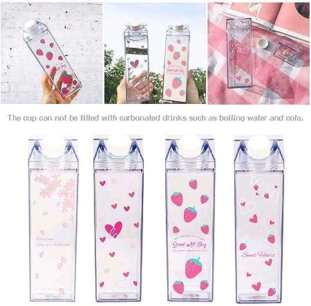 Mini botellas de agua con forma de caja de leche de plástico transparente con dibujos animados, café, cerveza, regalo para el hogar, bebidas, artículos ecológicos, Flower