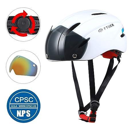 Ftiier Bike Helmet Cycling Helmets Mountain Bicycle Helmets with Visor Removable Interchangeable Shield Ski Helmet for Adult Men Women