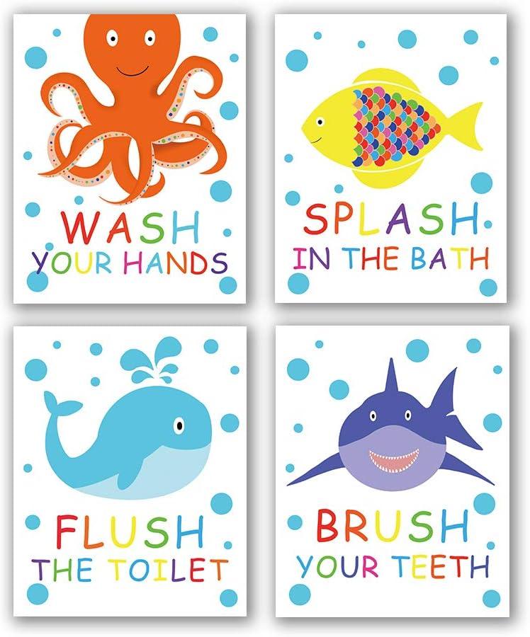 "4 Set- Colorful Bathroom Animal Quote Art Print, Wash Splash Flush Brush Bathroom Sign Canvas Wall Art Printing, Octopus Fish Shark Whale for Kids Washroom Decoration (Unframed,8""X10"")"