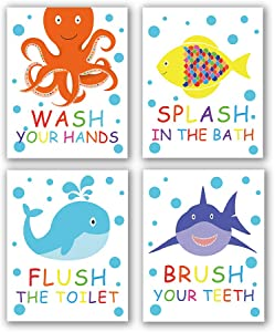 "4 Set- Colorful Bathroom Animal Quote Art Print, Wash Splash Flush Brush Bathroom Sign Canvas Wall Art Printing, Octopus Fish Shark Whale for Kids Washroom Decoration (Unframed,8""X10"")"