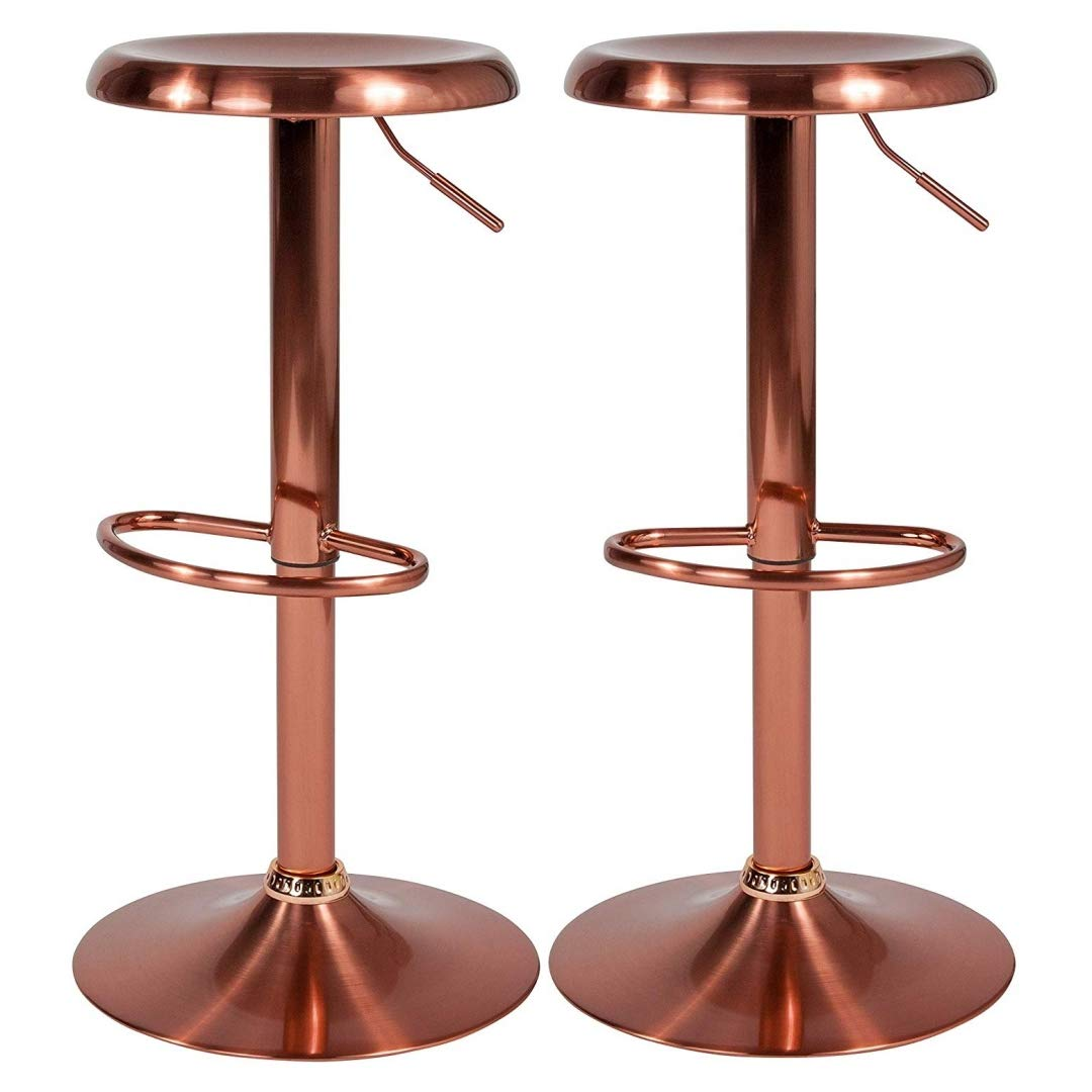 Contemporary Classic Design Metal Dining Round Backless Bar Stools Adjustable Height Swivel Seat Lounge Restaurant Diner Commercial Home Office Furniture - Set of 5 Rose Gold #2205