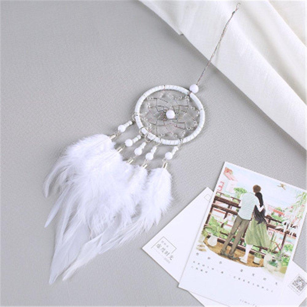 7 * 34cm aka Title Item Name Piuma White : MoGist Fatta a Mano Crema Catcher Rotonda Netto con Piuma Beads Wall Hanging Ornamenti Decorazione Auto Craft Gift