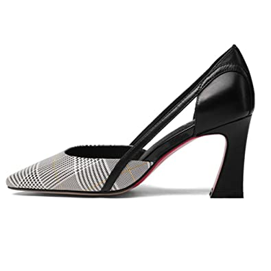 a26507ec3315c5 DKFJKI Damen High Heels Plaid Dicke Heel Schuhe Spitz Leder Seasons Schuhe  Fashion Joker