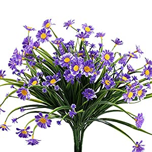 NAHUAA Artificial Plants, 4PCS Fake Daisy Flowers Greenery Bush Faux Plastic Wheat Grass Shrubs Table Centerpieces Arrangements Home Kitchen Office Indoor Outdoor Spring Decorations Purple 17