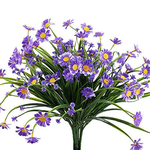 NAHUAA Artificial Plants, 4PCS Fake Daisy Flowers Greenery Bush Faux Plastic Wheat Grass Shrubs Table Centerpieces Arrangements Home Kitchen Office Indoor Outdoor Spring Decorations Purple