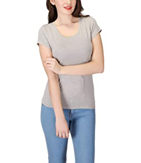 16d338db37 Oulinect Womens Short Sleeve T-Shirts Built in Shelf Bra Modal Solid Casual Padded  Bra