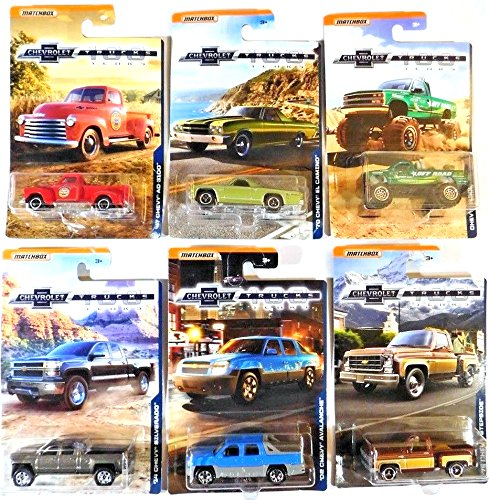 Matchbox Chevrolet 100 Years Exclusive Series '47 AD 100, '02 Avalanche, '14 Silverado, '75 Stepside, K1500, '70 El Camino Hot Trucks Chevy Pickup Editions