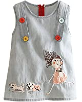 Mud Kingdom Little Girls' Denim Cartoon Sundresses