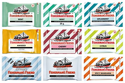 9 Flavours of Fisherman's Friend - Fisherman's Friend Mint, Sugar Free Spearmint, Sugar Free Mint, Original, Sugar Free Citrus, Sugar Free Original, Sugar Free Cherry, Sugar Free Mandarin and Aniseed (9 Packs)