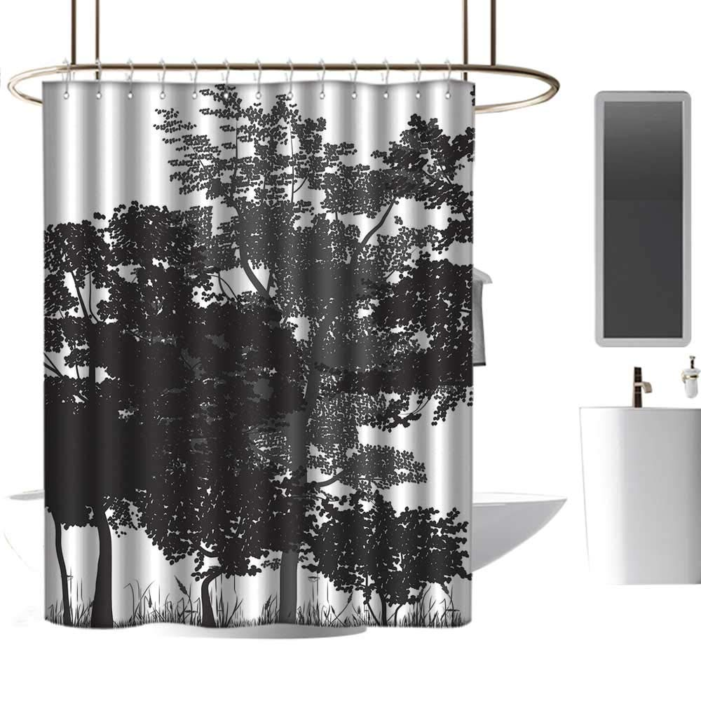 Homehot easter shower curtains for bathroom fabric foresttree silhouettes and bushes in monochrome retro colors deciduous growth lushblack grey whitew36