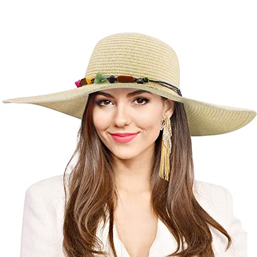 e767e86fb84 Women Floppy Straw Hat Wide Brim Sun Hat Summer with UV Protection Beach  Cap Big Foldable