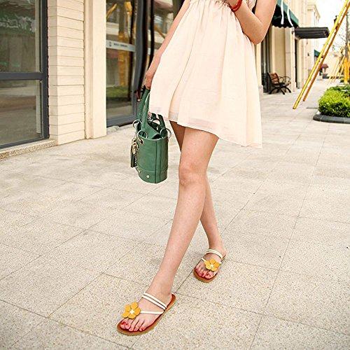 Zanpa Mujer Mode Flor Verano Zapatos Plano Slipper Sandales White