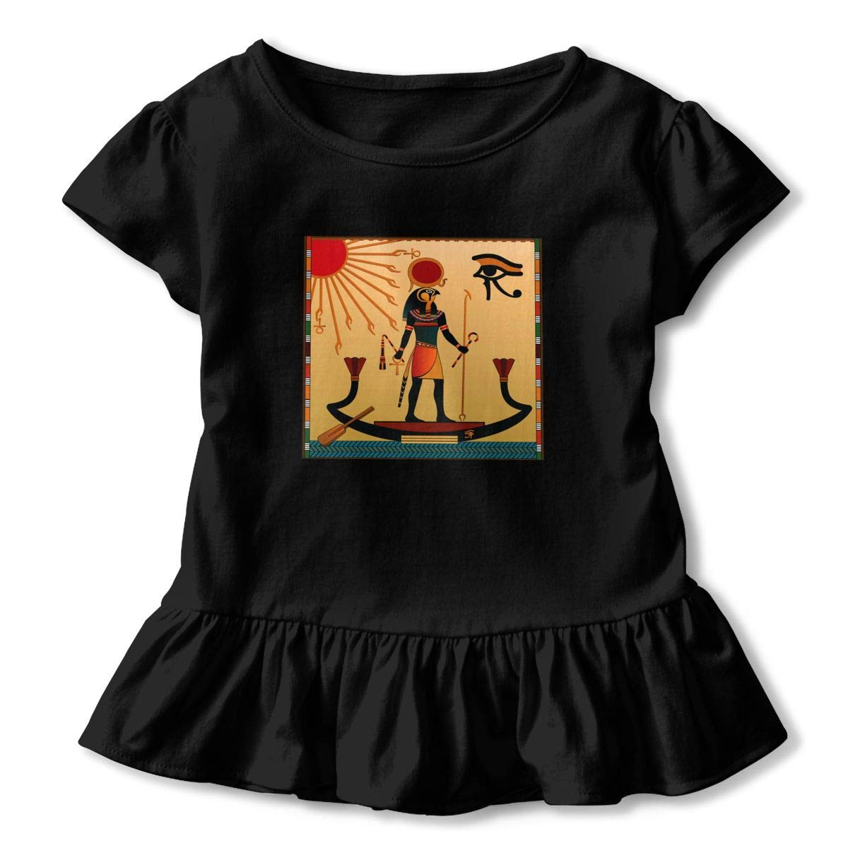Ancient Egyptian Sun Life Toddler Baby Girls Short Sleeve Ruffle T-Shirt