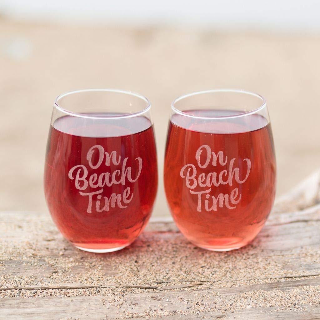 On Beach Time Wine Glasses Gift - Beach Drinking Glasses Set - Coastal Cottage Decor - Wine Tumblers