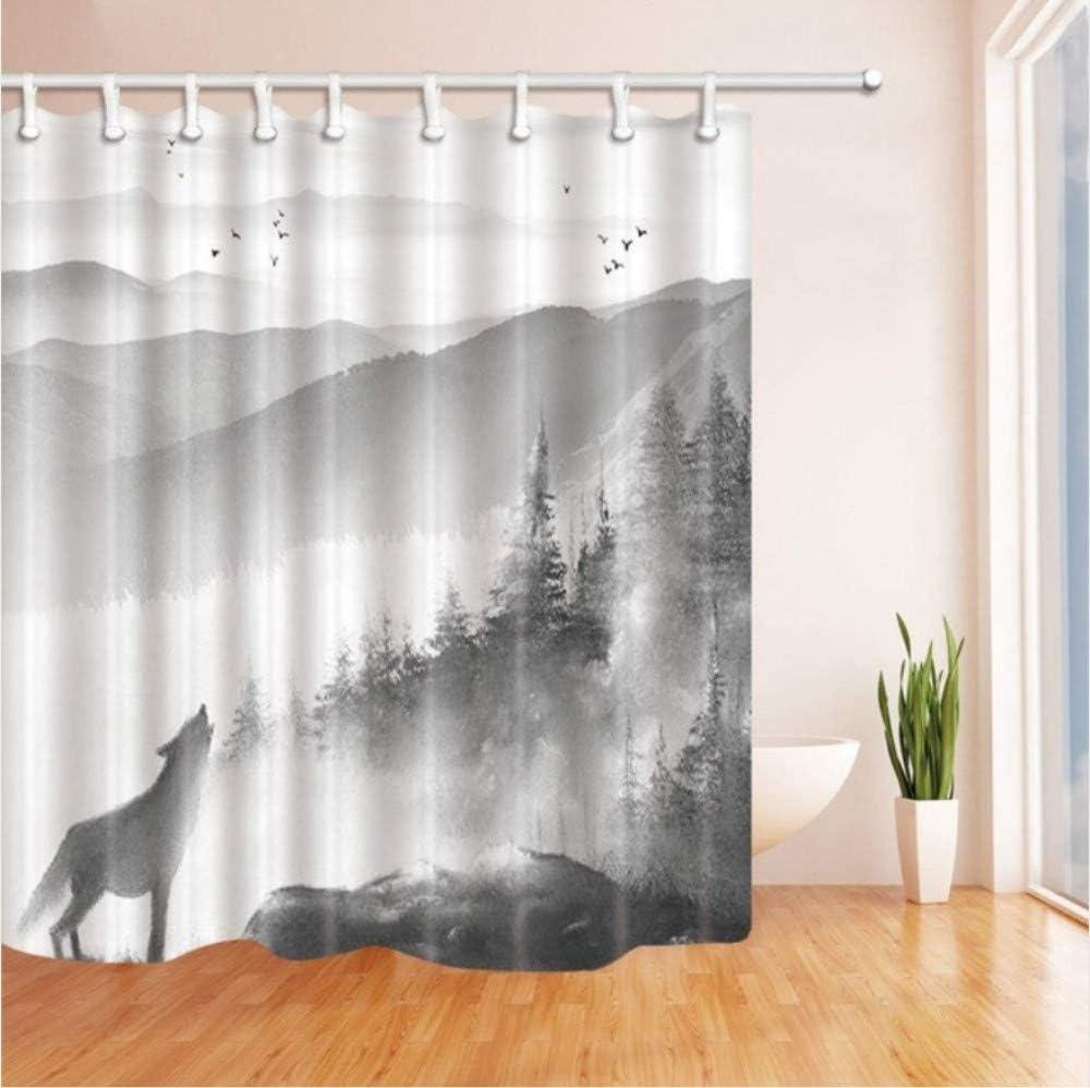 H Cm Cortina De Ba/ño Wolf Nature Landscape Misty Black White Tone Collection Tela De Ba/ño Cortinas 150 X180 W