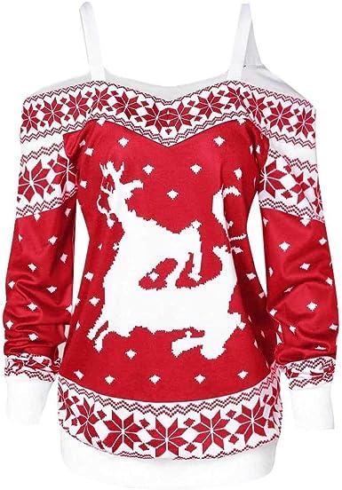 Camisas De Navidad para Mujeres 2018 Moda Mujer Vintage Suéter para De Navidad De Manga Larga con Alces Elegante Camiseta Suelta Elegante Blusa Festiva Suéter De Navidad Tops Moda Joven: Amazon.es: Ropa