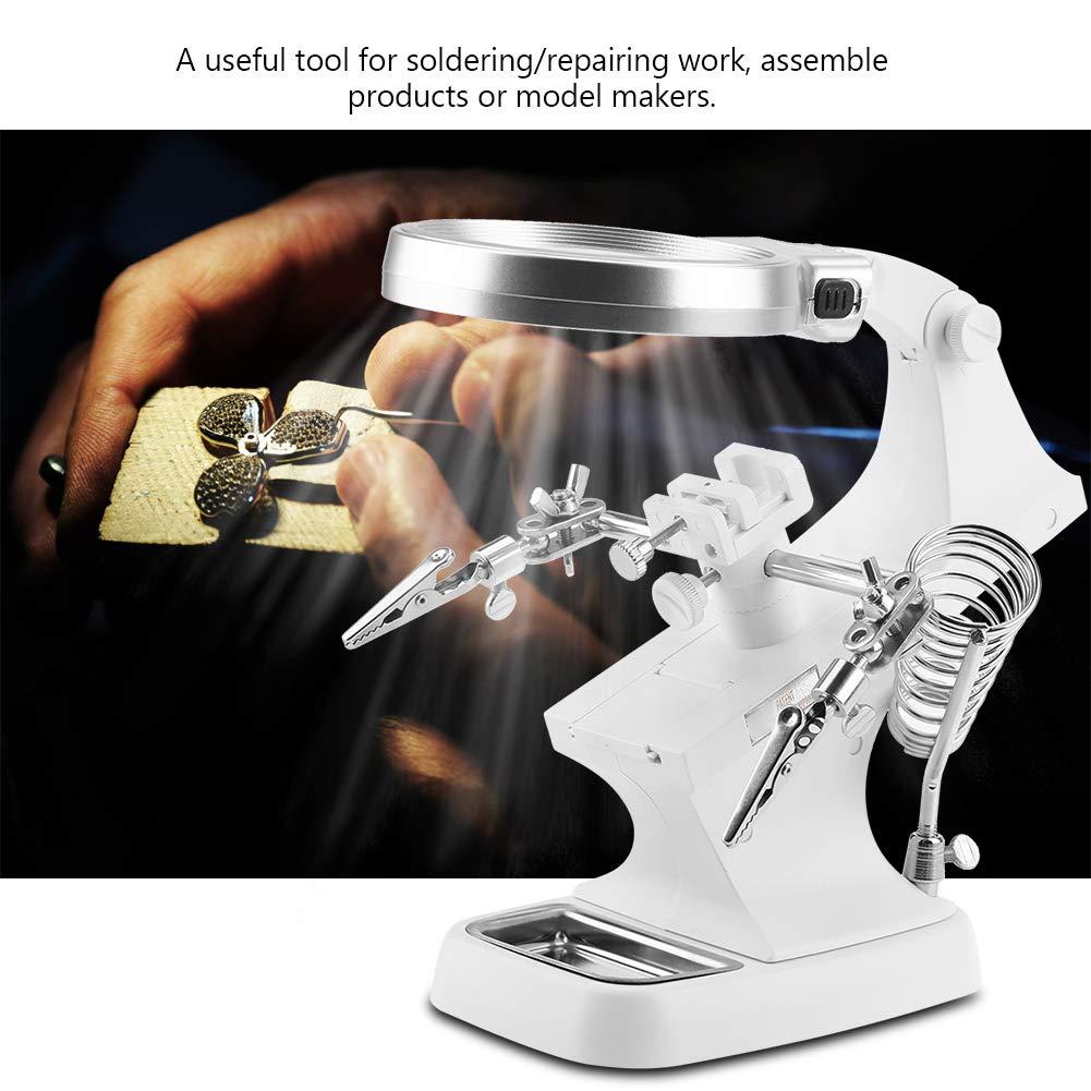 LED Light Helping Hands Magnifier,3X//4.5X Soldadura multifuncional Magnifier Lupa Soldadura Herramienta de reparaci/ón de rotaci/ón de 360 /° para soldar Trabajos de reparaci/ón de soldadura