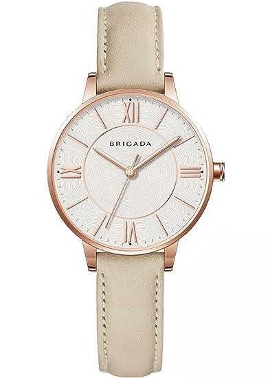 BRIGADA Elegant Beige Ladies Dress Quartz Wrist Watches for Women Girls Nice  Fashion Swiss Brand Women 0d392e25a691