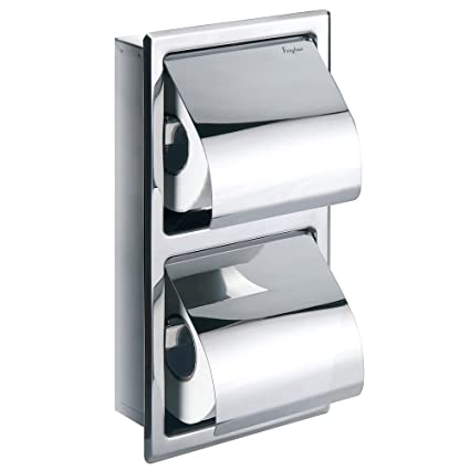 Flova Gloria Double Concealed Recessed Toilet Paper Roll Holder