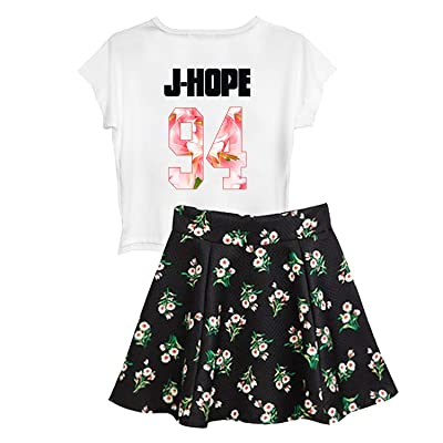 BTS Suga Jin Jimin Jung Kook Printed T-Shirt + Floral Skirt Two Piece Suit at Women's Clothing store