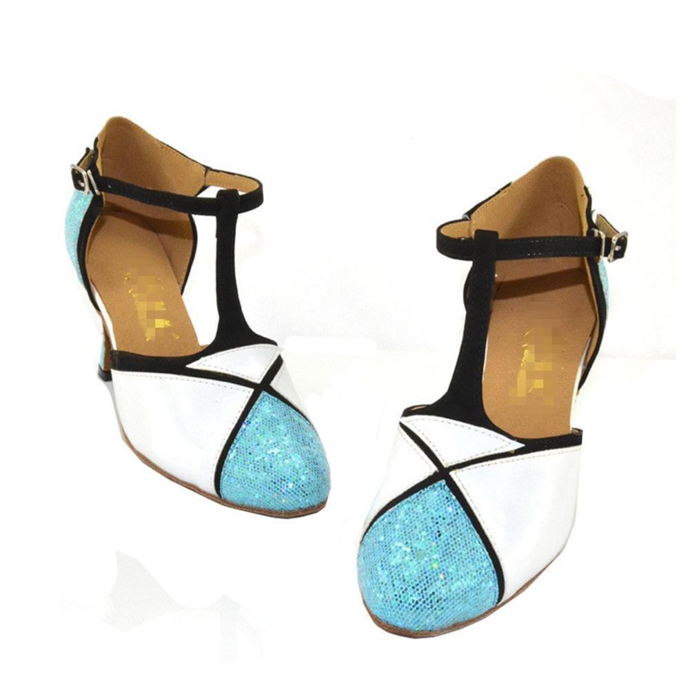 Damenschuhe Closed Toe High Heel Pu Glitzer Leder Glitzer Pu Salsa Tango Ballsaal Latin T-Strap Dance Schuhe Blau Weiß A 531a13
