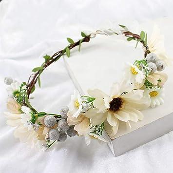 Stirnband Krone Simsly Blumenkranz im Boho-Stil Hochzeit Girlande Blumen Haar-Zubeh/ör f/ür Frauen und M/ädchen