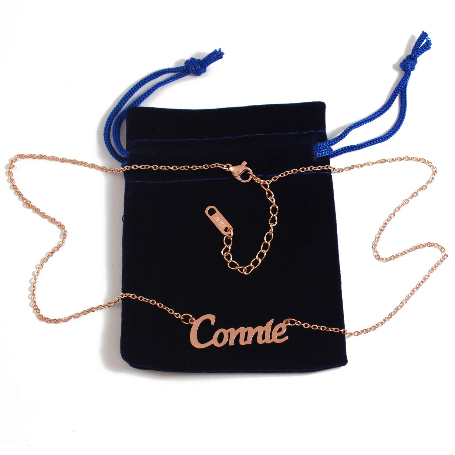 18ct Rose Gold Plated Kigu Connie Custom Name Necklace Personalized