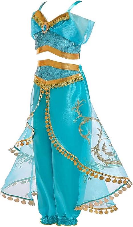 FENICAL 2pcs Aladdin Princess Jasmine Cosplay para Ropa de niñas ...