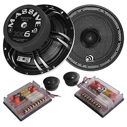 Massive Audio XK6 - 6 Inch, 6.5'' 400Watts Max / 200w RMS, 4 Ohm, XK Series, Component / Coaxial / Convertible High Powered Car Audio Speaker System (Pair) by MASSIVE
