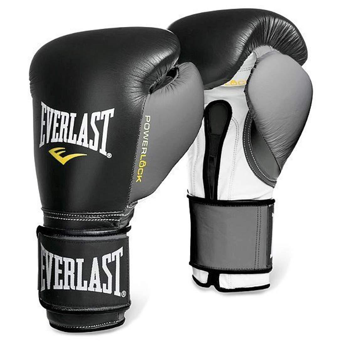 EverlastプレミアムレザーPowerlockフック&ループトレーニング手袋 ブラック/グレー 16oz