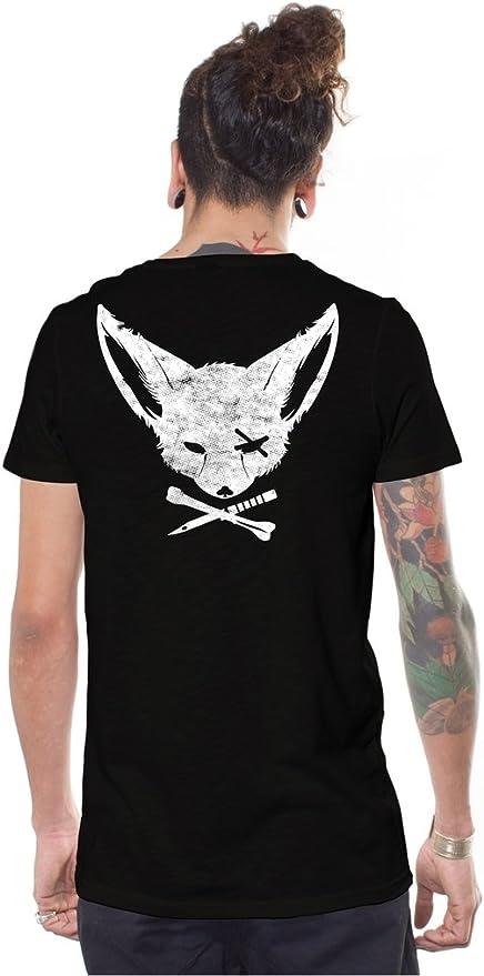 Camiseta Negra de Skate, Arte gráfico Original de Zorro Pirata - Ropa Urbana Alternativa para Hombre: Amazon.es: Ropa y accesorios