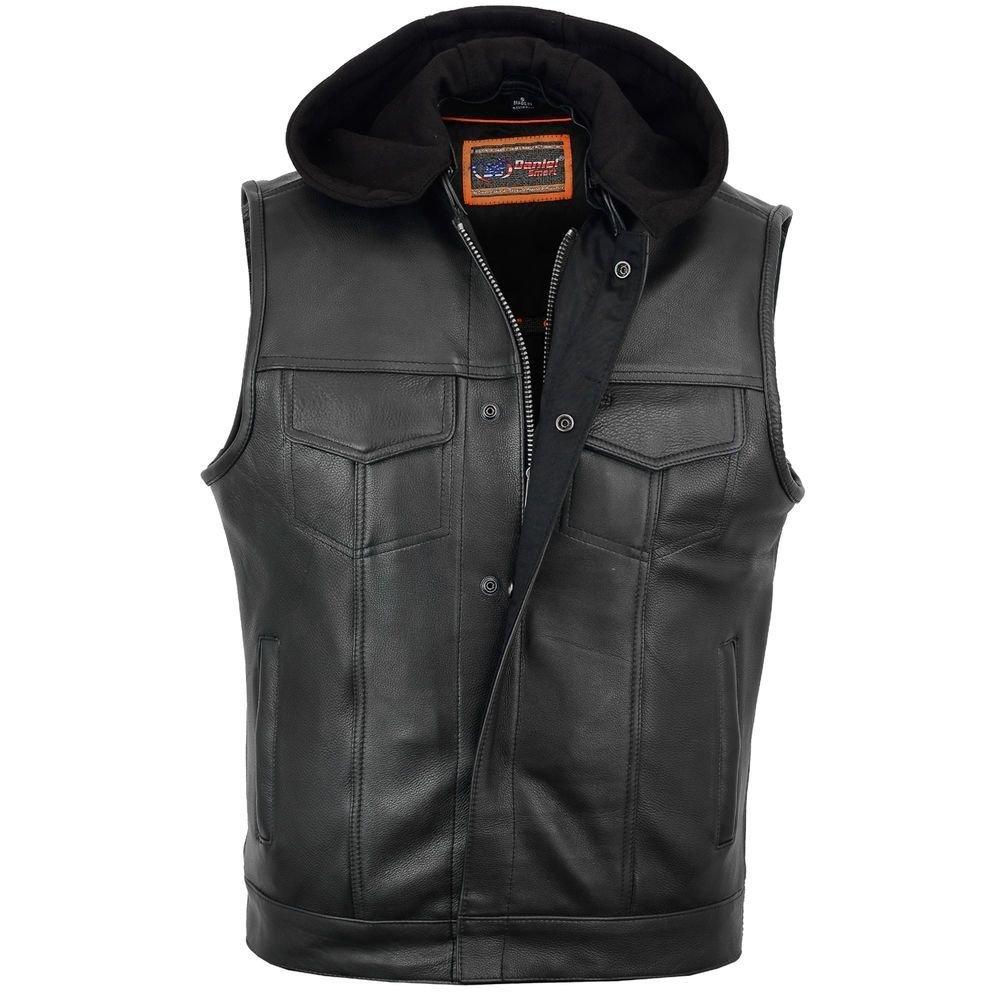 Removable Hood L Regular Daniel Smart Mens Motorcycle Son of Anarchy Style Leather Vest W//Gun Pockets