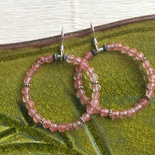 JANECKA Cherry Quartz Hoop Earrings - Sterling (Quartz Sterling Silver Hoop)