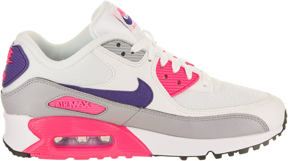 Nike WMNS Air Max 90 Prem, Basket Femme Multicolore White Court Purple Wolf Grey Laser Pink 001