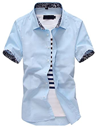 e994345c8 Pandapang Men Button Front Short Sleeve Inner-Contrast Casual Summer Pure  Color Shirts at Amazon Men's Clothing store: