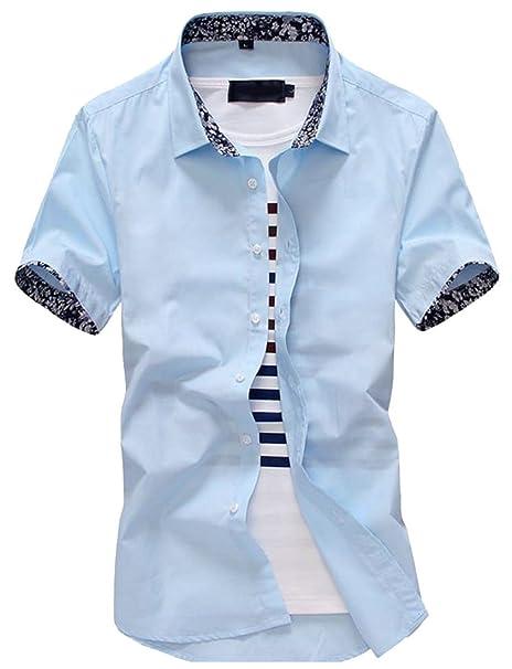 Pandapang Men Short Sleeve Henley Shirt Summer Crew-Neck Tops Tees T-Shirts
