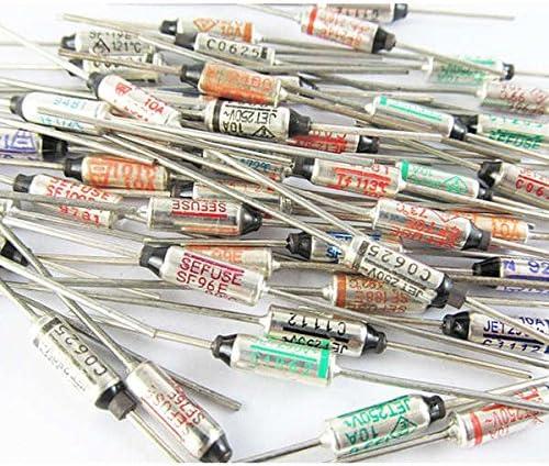 Lote de 10 fusibles t/érmicos de 30 x 6 mm RY TF 192 grados Celsius AC 250 V 2 A.