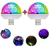 USB Mini Voice-Activated Magic Ball Light, Disco Ball Light, Mini Portable Strobe Light, LED Car USB Atmosphere Light, Suitable for Christmas/Halloween/Home Interior Decoration, Etc. White(2 pcs) (Color: Usb Disco Light)