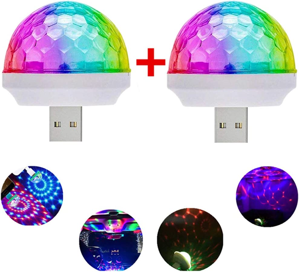 USB Mini Voice-Activated Magic Ball Light, Disco Ball Light, Mini Portable Strobe Light, LED Car USB Atmosphere Light, Suitable for Christmas/Halloween/Home Interior Decoration, Etc. White(2 pcs)