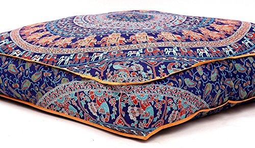 (Krati Exports Indian Floor Pillow Cushion Covers in Mandala Design (Blue Multi))
