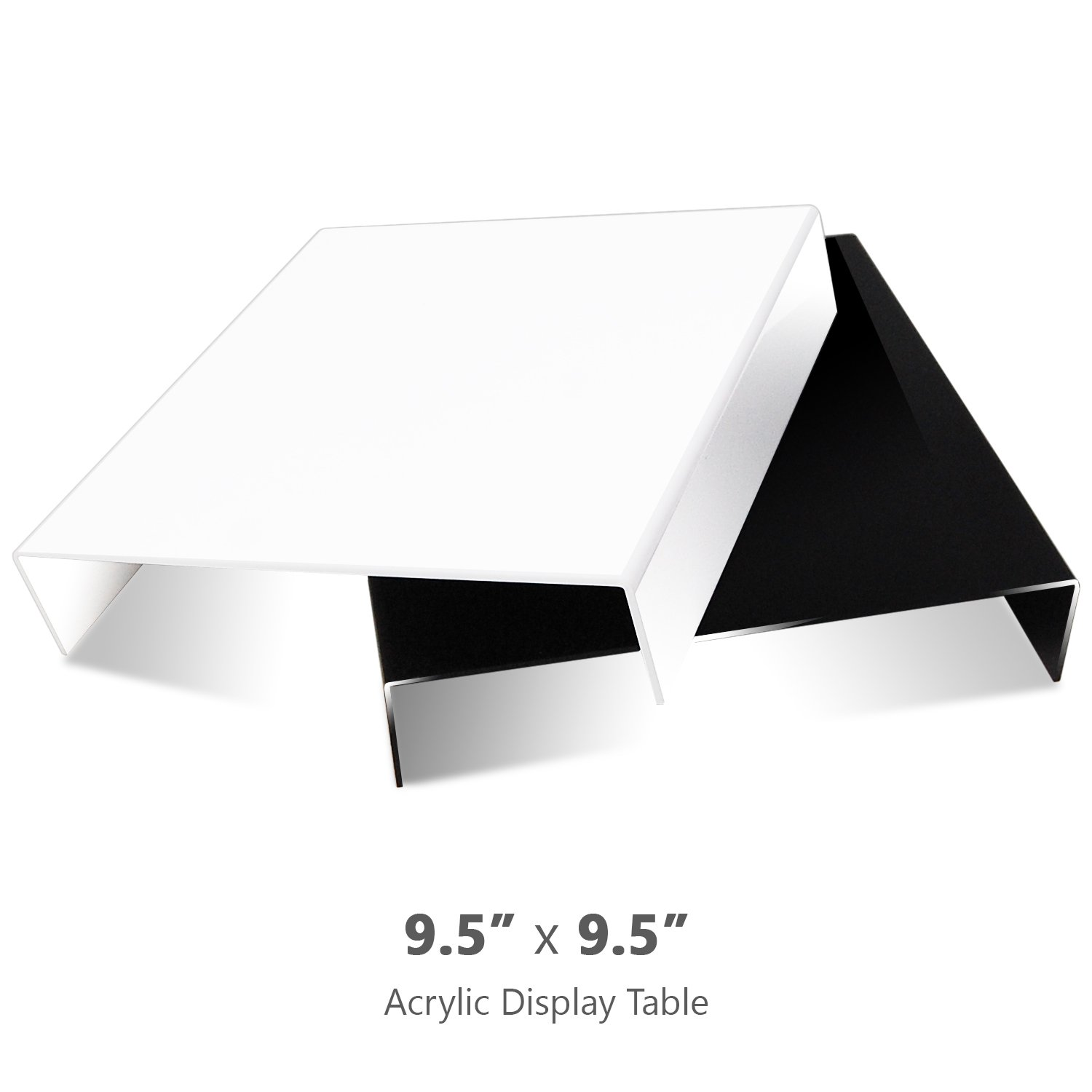 Julius Studio 2 Pcs 9.5 x 9.5 Inch Tabletop Acrylic Reflective Display Black & White for Product Photography, JSAG373 by Julius Studio