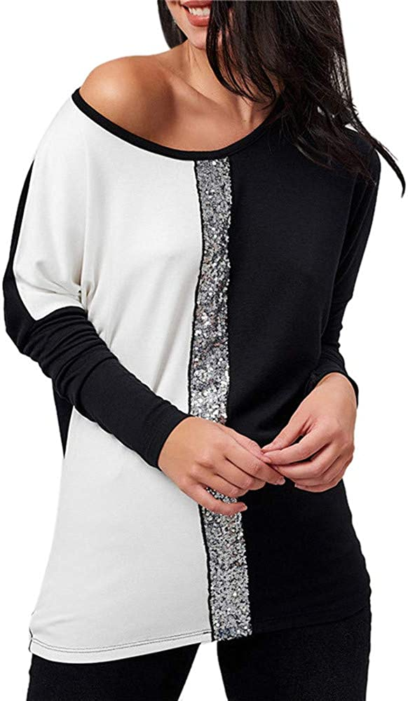 Toamen Camicetta Donna Blusa Blusa Camicia a Maniche Lunghe Collo Obliquo Blings Paillettes Patchwork Color Block Camicetta T-Shirt Top Moda