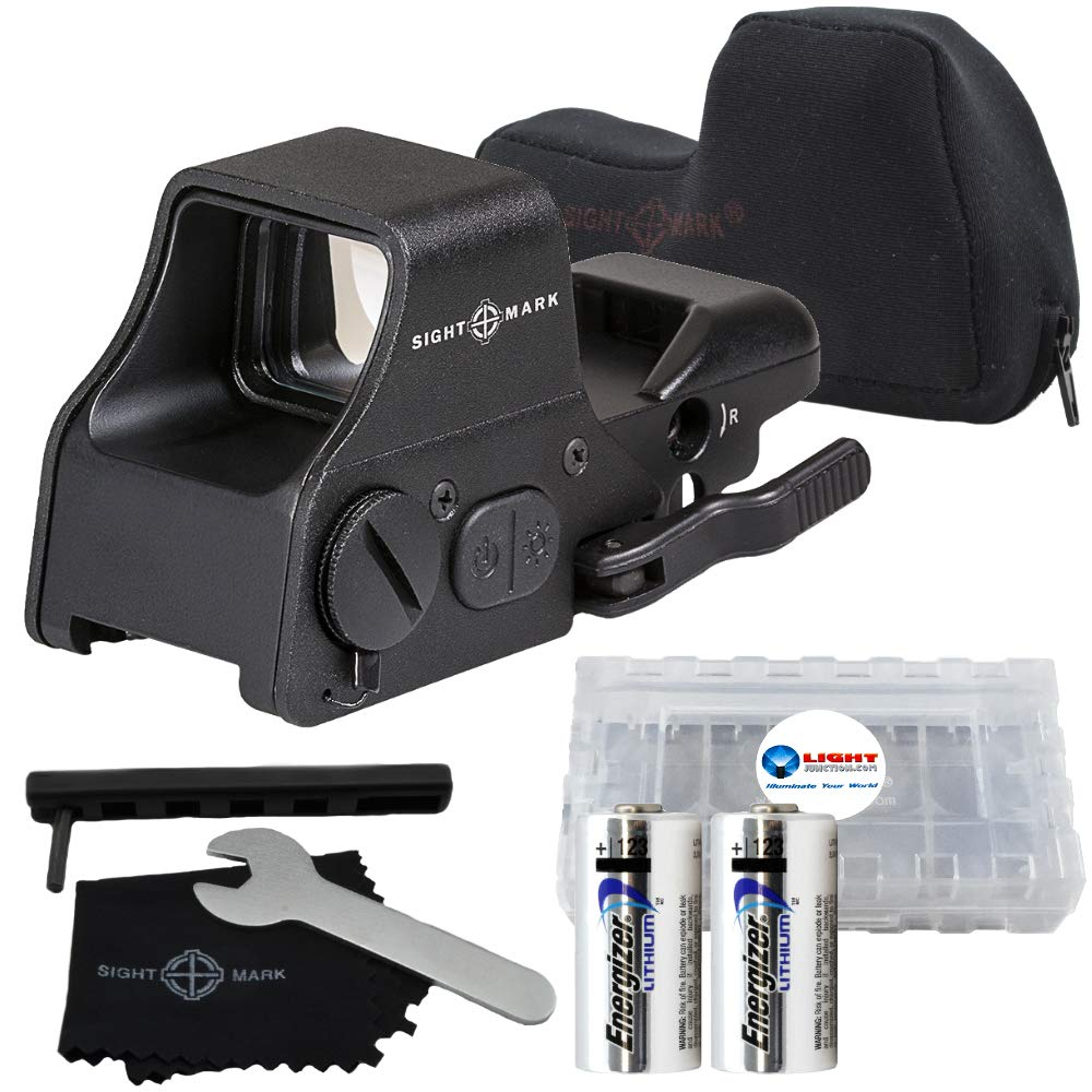 Sightmark Ultra Shot Plus QD Reflex Sight Red and Green Reticle Bundle with 2 Extra Energizer CR123 Batteries and a Lightjuction Battery Case by Sightmark