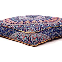 """Large Indian Meditation Floor Pillow Cover 35"""" X 35"""" Inch Elephant Mandala Ottoman Cushion Dog Bed Outdoor Sofa Day Bed Kids Teen Floor Pillow"""