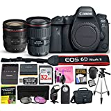 Canon EOS 6D Mark II Digital SLR Camera (Wi-Fi) ESSENTIAL Multi-Lens STARTER Kit with Camera Body, EF 16-35mm f/4L IS USM Lens, EF 24-70mm f/4L IS USM Lens & Camera Works Premium Accessory Bundle