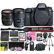 [Patrocinado] Canon EOS 6d Mark II 26,2MP cámara réflex digital (WiFi) esencial Kit de iniciación de lentes múltiples Deluxe con cámara funciona accesorio Bundle