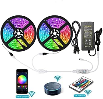 Aptech RGB LED Light Strips with Remote, Dimmable LED Rope Lights, 300LED 5050, IP65 Waterproof WiFi Strip Lights Outdoor, Wireless Smart Phone, Alexa Controlled (32.8ft/10m)